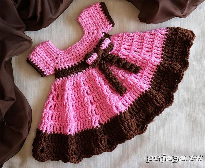 Платье вязаное на малышку крючком