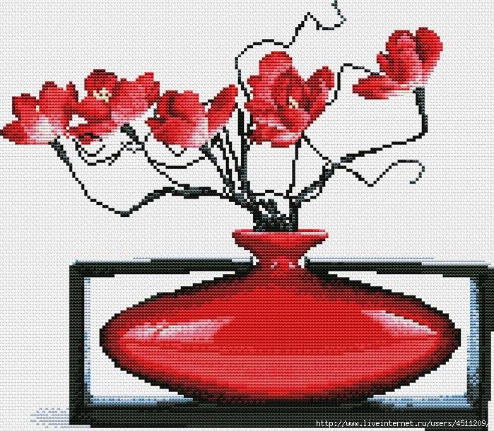 Вышивка крестом красный цветок