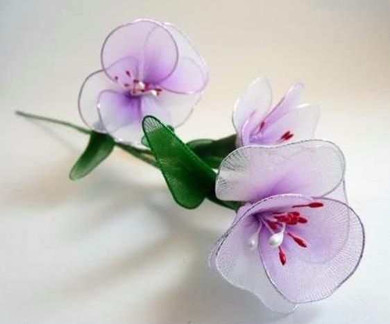 Цветы из капроновых лент своими руками мастер