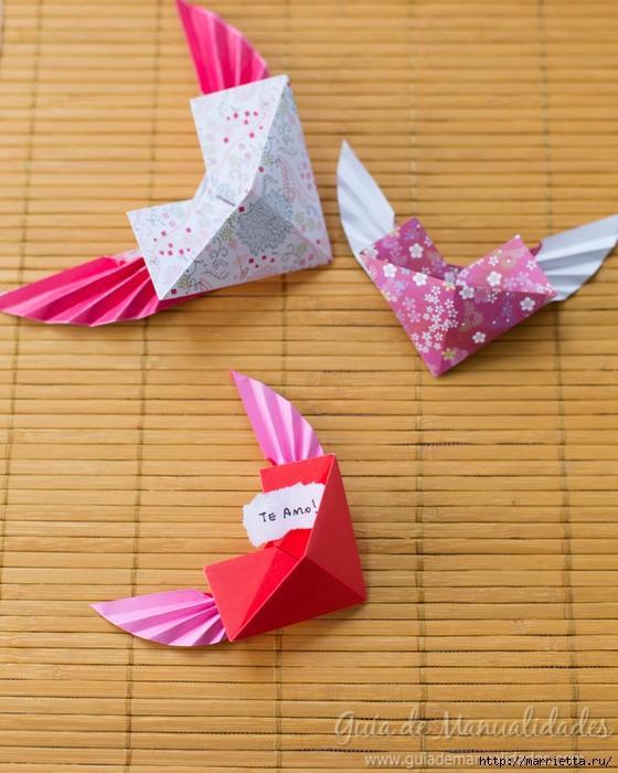 Крылатые валентинки в технике оригами из бумаги (11) (560x700, 283Kb)