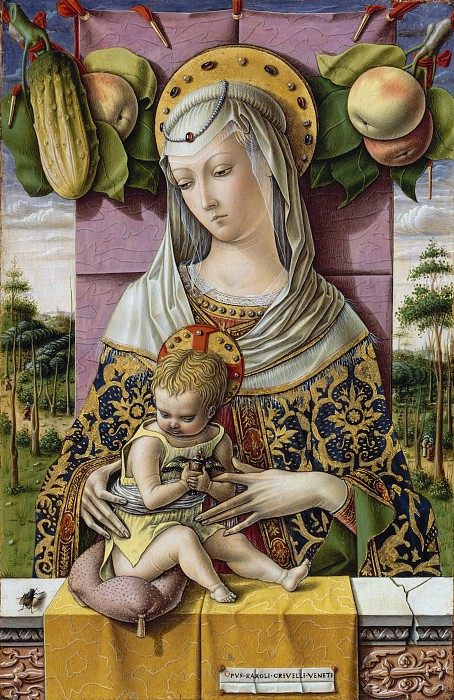 Карло Кривелли, известен с 1457 - умер 1493 Асколи-Пичено) - Мадонна с младенцем (454x700, 505Kb)