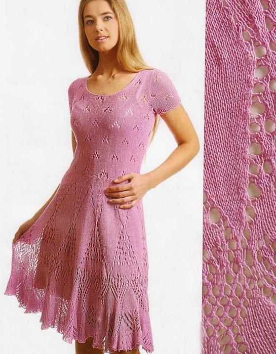 Платье с ажурными листьями