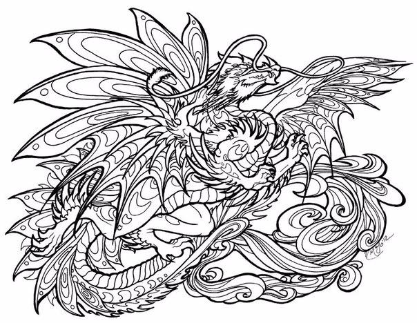 Раскраски для взрослых драконы