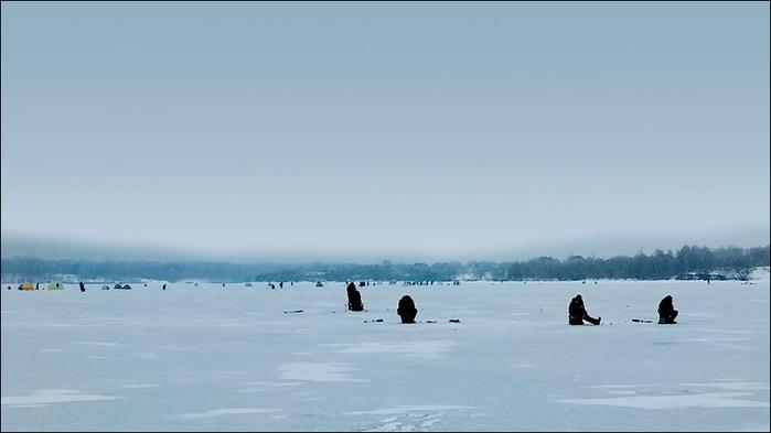 Зимняя рыбалка на Пироговском водохранилище