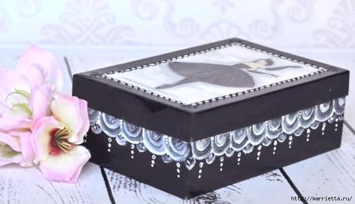 Балерина и кружево на коробке. Видео мастер-класс (700x403, 163Kb)