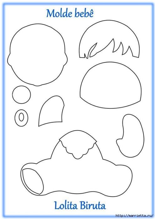 Ляльки с сосками из фетра. Выкройка (1) (495x700, 105Kb)