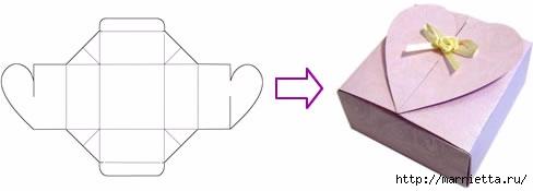 Шаблон сердечной коробочки для подарка (1) (488x175, 27Kb)