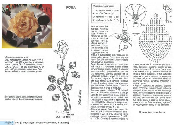 Вязание крючком розы крючком схемы и описание 15