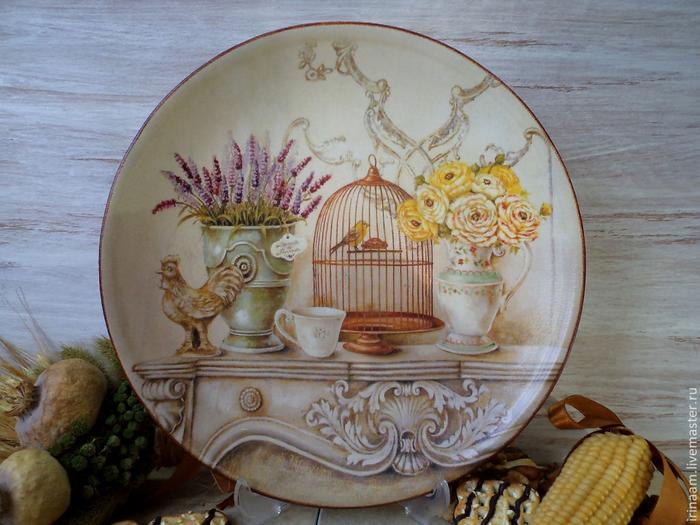 Роспись тарелок в стиле прованс