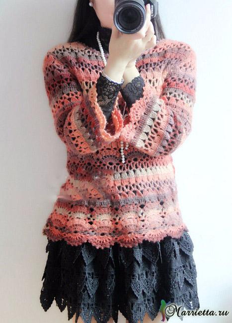 Весенний ажурный пуловер крючком из меланжевой пряжи (1) (467x649, 297Kb)