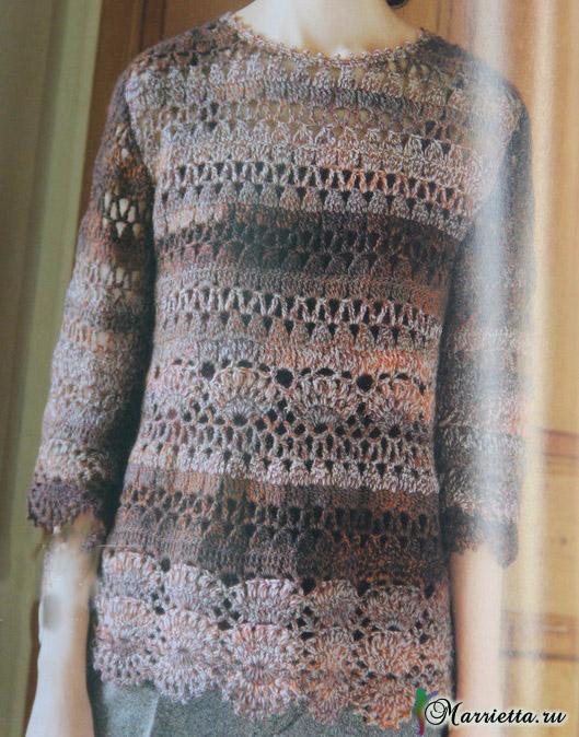 Весенний ажурный пуловер крючком из меланжевой пряжи (7) (529x674, 451Kb)