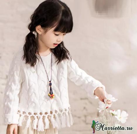 Пуловер с бахромой для маленькой принцессы (2) (468x459, 252Kb)