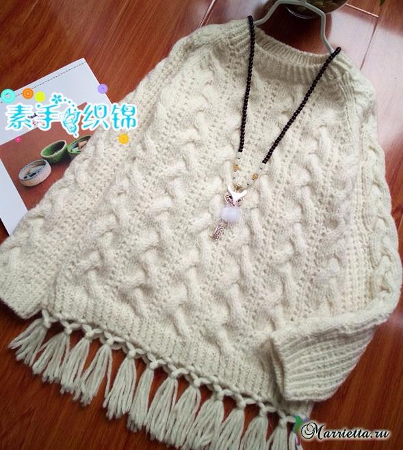 Пуловер с бахромой для маленькой принцессы (4) (589x657, 403Kb)