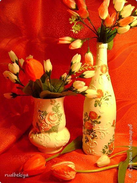 Декоративная бутылка и вазочка из плафона. Декупаж (2) (450x600, 348Kb)