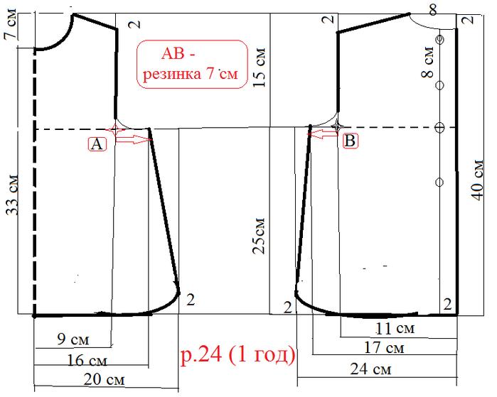 Платье для девочки 1 год р.22-24 схема (700x559, 74Kb)