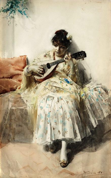 Anders Zorn1860-1920  Mandolinspelerskan  (Girl playing mandolin 1984 (438x700, 94Kb)