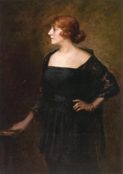 Женщина в черном платье   ч.к. (493x700, 185Kb)