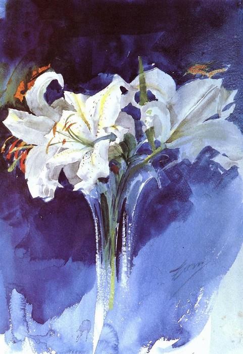 Белые лилии (481x700, 113Kb)