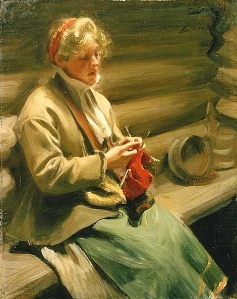 Девушка  за  вязанием    1901 (470x594, 125Kb)