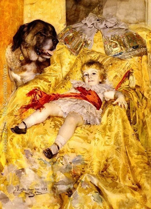 Портрет Кристиана Де  Фалбе  с  сенбернаром в Лутоне Hoo  1884 (507x700, 142Kb)