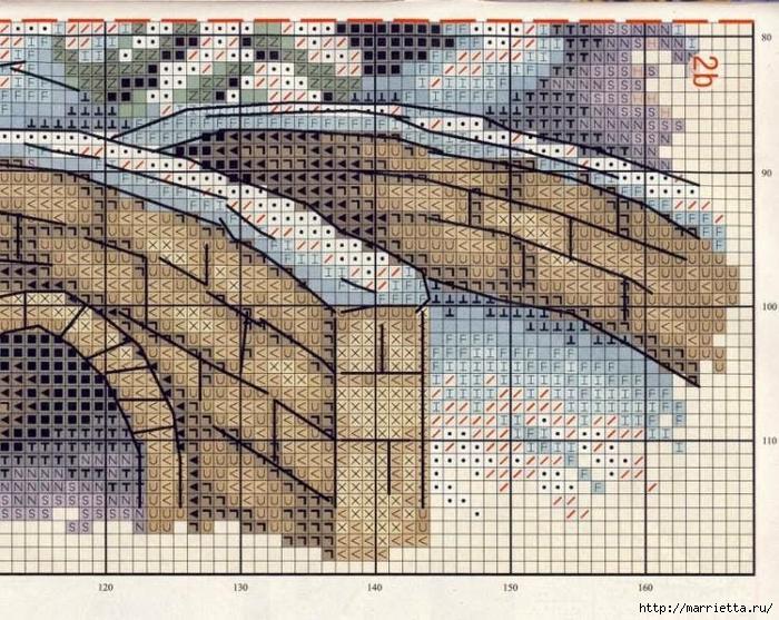 Домик в снегу. Схемы вышивки крестом (1) (700x557, 394Kb)