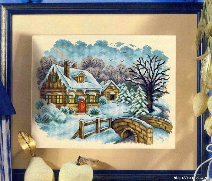 Домик в снегу. Схемы вышивки крестом (4) (700x599, 334Kb)