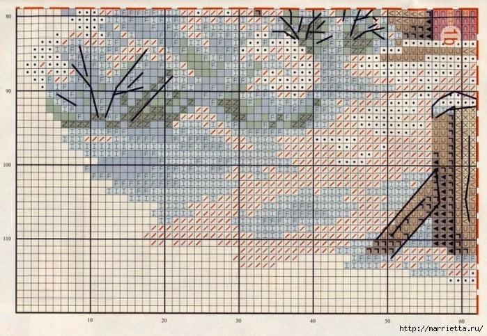 Домик в снегу. Схемы вышивки крестом (6) (700x483, 336Kb)