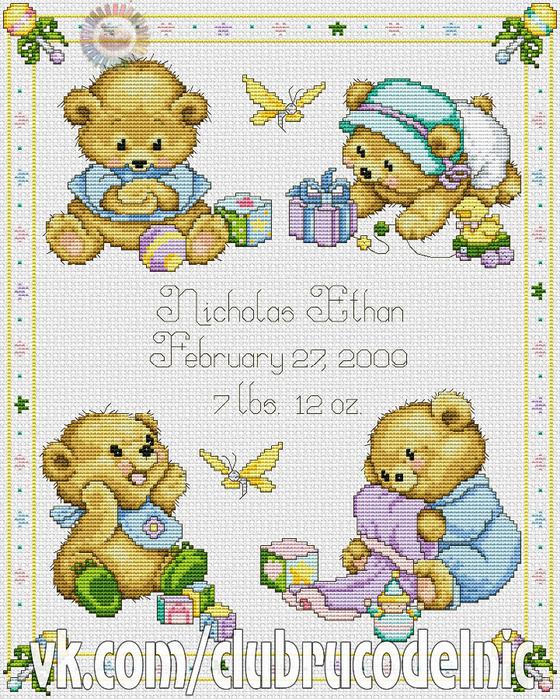 Baby Bears Birth Sampler (560x700, 588Kb)