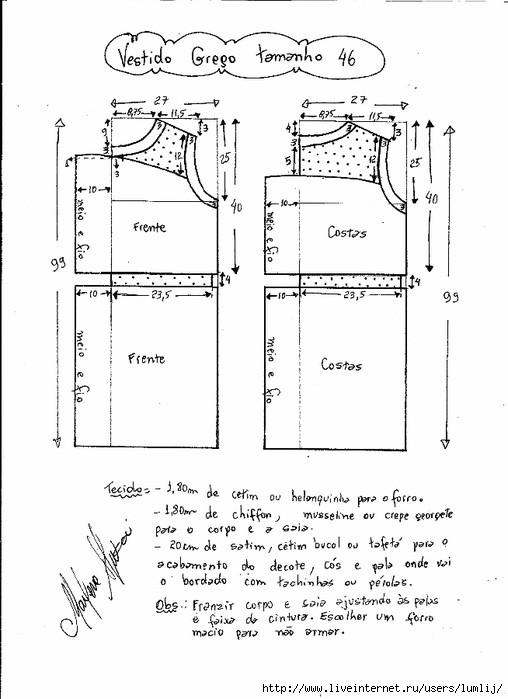 Платье в греческом стиле короткое выкройка