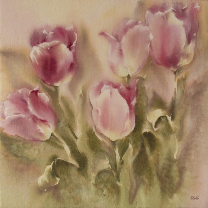 Батик платок Весенние тюльпаны  Размер 8282 см