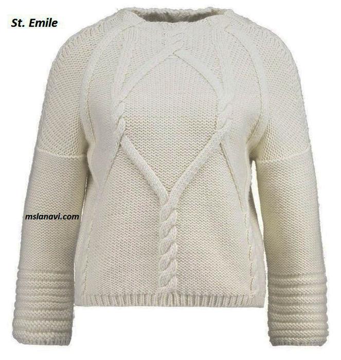 Белый-пуловер-спицами-St.-Emile (663x700, 336Kb)
