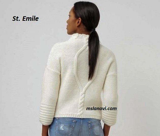 Белый-пуловер-спицами-St.-Emile-3 (630x533, 129Kb)