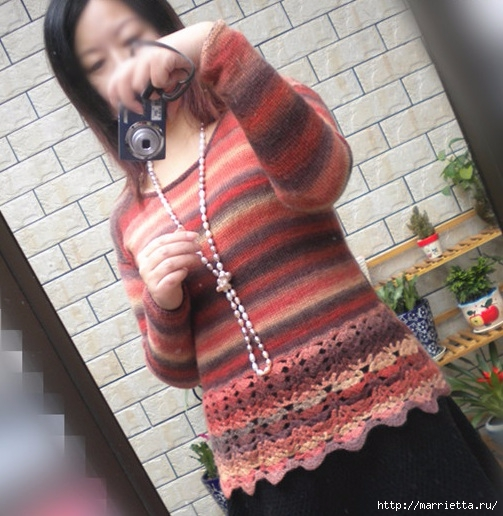 Пуловер спицами с ажурной обвязкой крючком (2) (503x516, 193Kb)