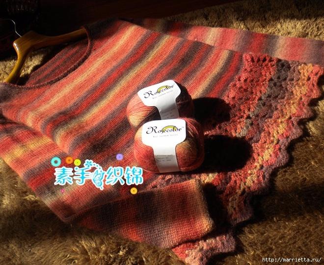 Пуловер спицами с ажурной обвязкой крючком (3) (660x539, 327Kb)