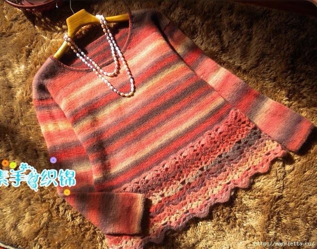 Пуловер спицами с ажурной обвязкой крючком (7) (635x499, 367Kb)