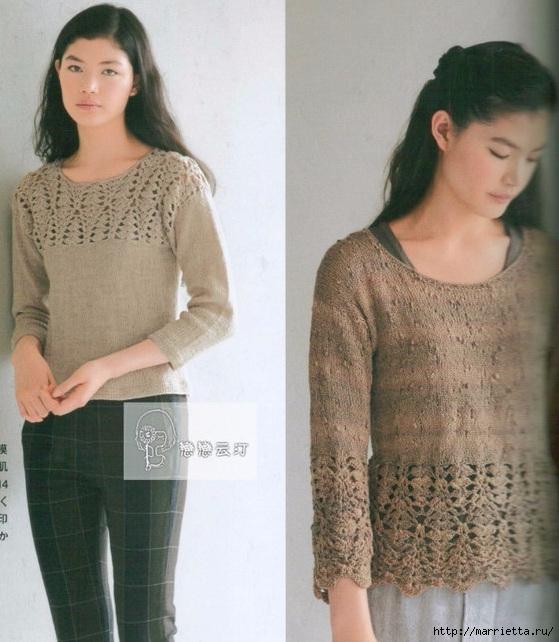 Пуловер спицами с ажурной обвязкой крючком (9) (559x642, 213Kb)