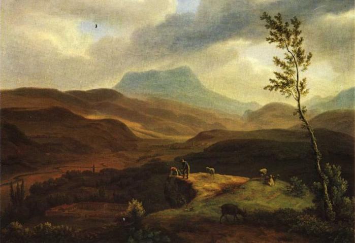 Мивилль Жан-Кристоф Мивилль  Вид на гору Чатыр-Даг и реку Альму в Крыму. 1814-1818 гг. (700x479, 299Kb)