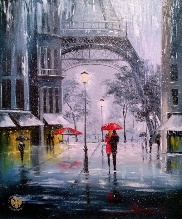 Первый снег в Париже (583x700, 552Kb)