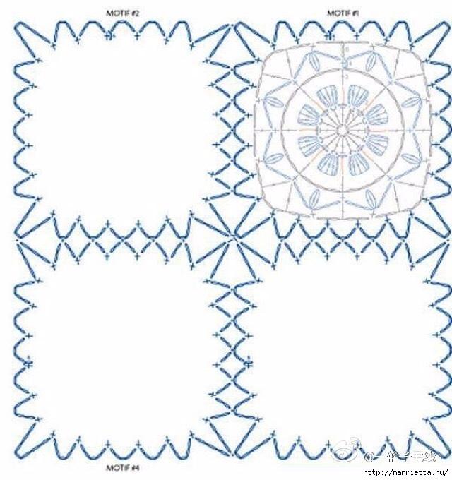 Схема мотива для вязания крючком подушки или покрывала (1) (640x680, 213Kb)