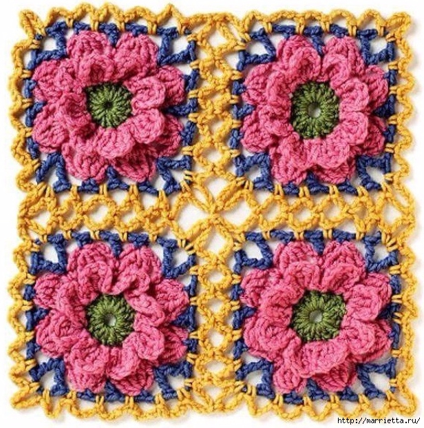Схема мотива для вязания крючком подушки или покрывала (3) (616x621, 379Kb)