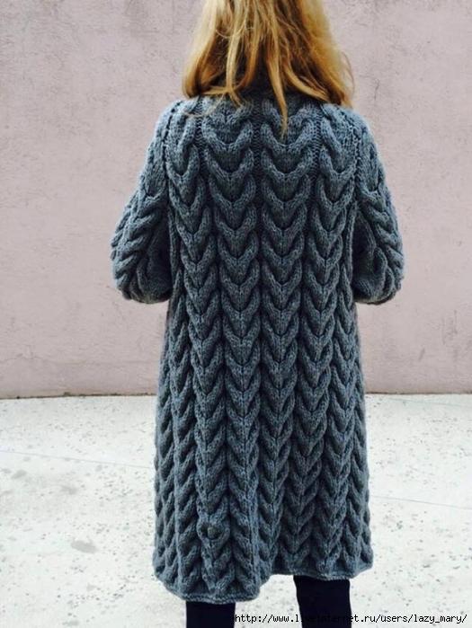 Вязание спицами кардиган из кос