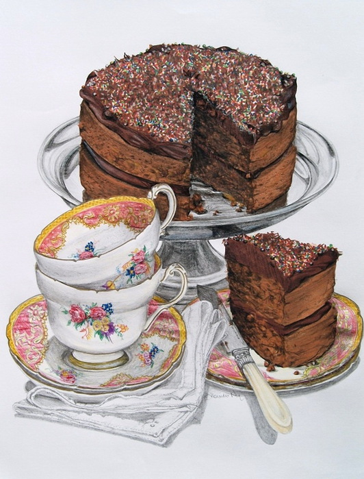 Торты и напитки праздничная ретрокулинария