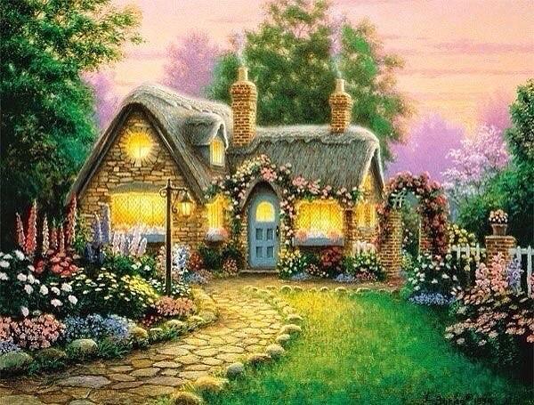 Вышивка крестом домик в цветах
