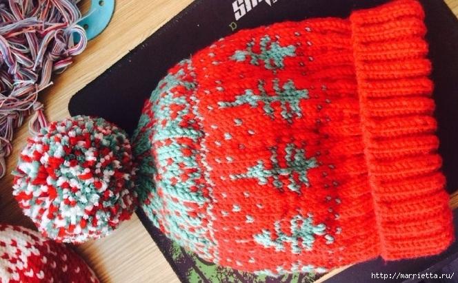 Зимняя шапочка с помпоном и узором елочки (2) (664x411, 258Kb)