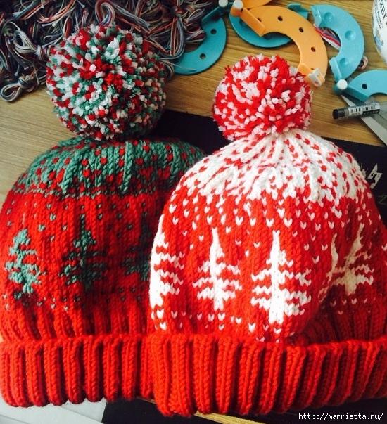 Зимняя шапочка с помпоном и узором елочки (4) (550x603, 340Kb)