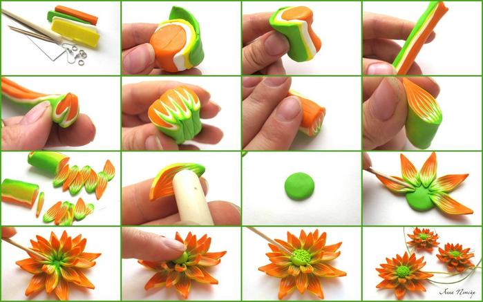 Видео. как сделать цветы с полимерной глины