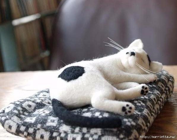 Коты и кошечки в технике сухое валяние из шерсти (12) (597x471, 130Kb)