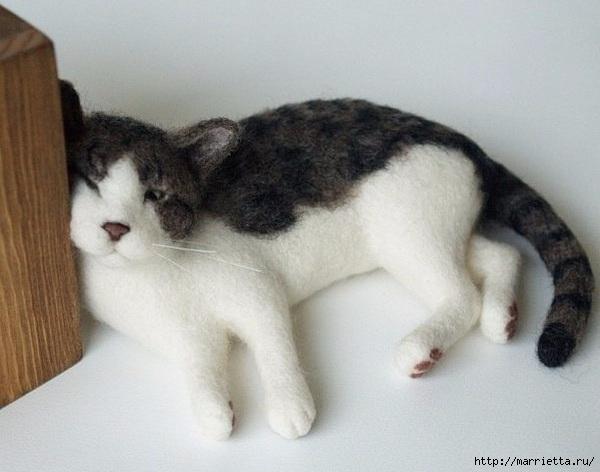 Коты и кошечки в технике сухое валяние из шерсти (14) (600x472, 127Kb)