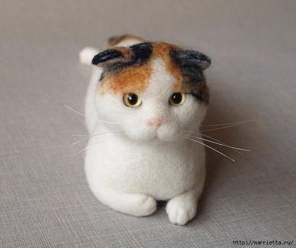 Коты и кошечки в технике сухое валяние из шерсти (16) (591x495, 147Kb)