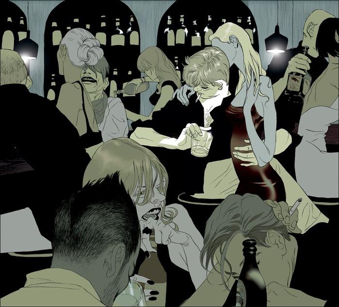 Израильские иллюстраторы Томер и Асаф Ханука (Tomer Hanuka, Asaf Hanuka) drunksBar72